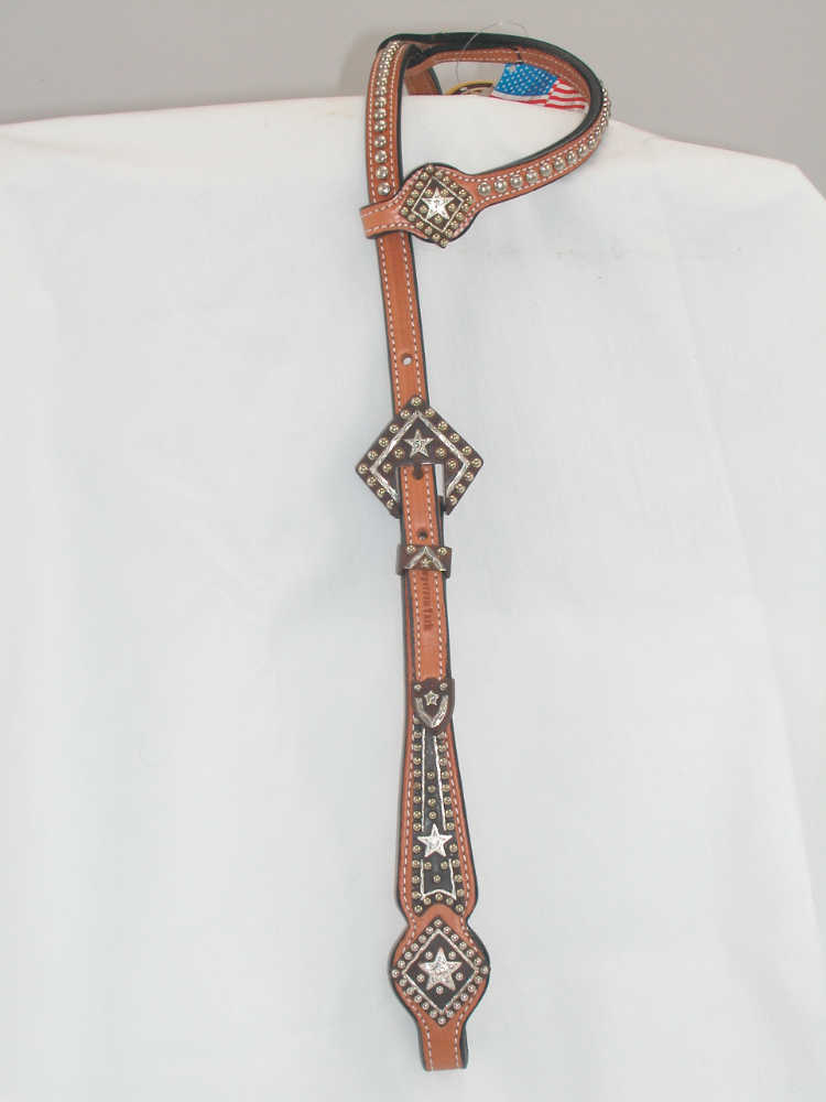 Cowperson Diamond Style Silver show headstall