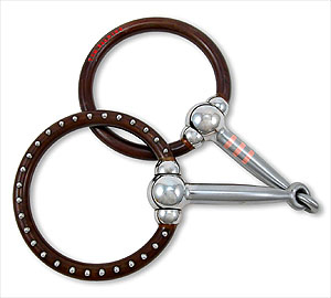 Tom Balding Ballhinge Ring Snaffle w/Dots Blue
