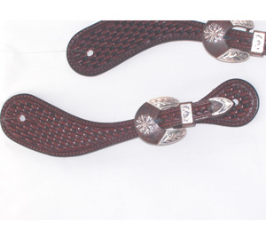 Basket Stamped Spur Straps w/ Daisy Silver