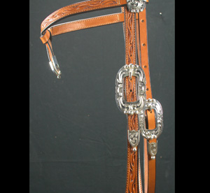 Sierra Way  Futurity Brow Headstall w/ Zuni silver