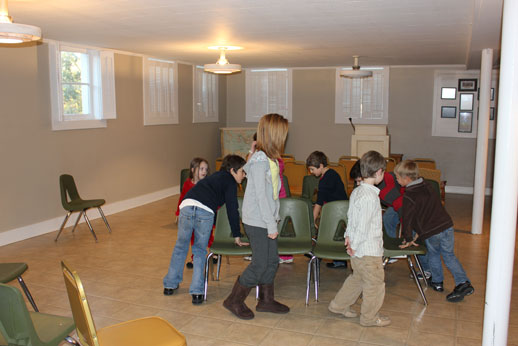 Fellowshipping with the Children: muscial chairs gets serious