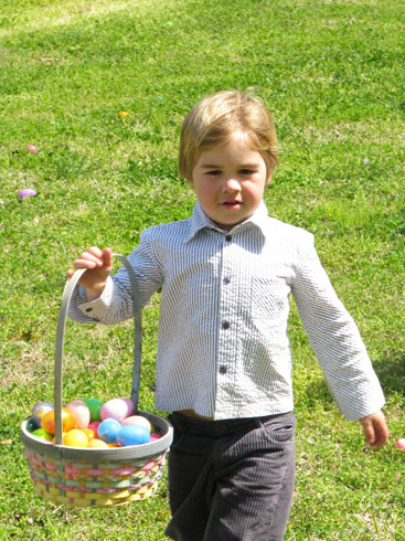 Easter Egg Hunt: proud of his bounty