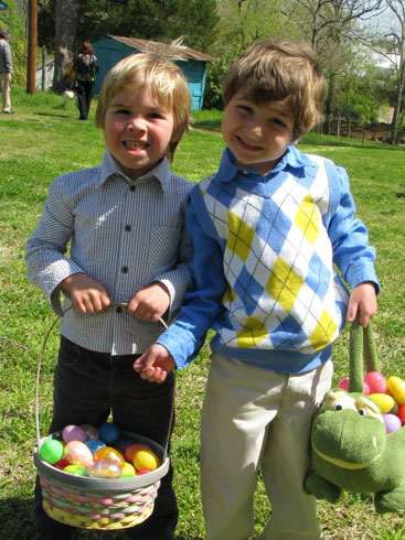 Easter Egg Hunt: showing off their easter eggs