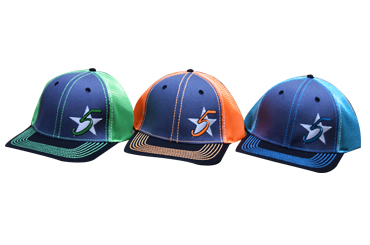 5 Star Logo Blaze Caps - Lime, Orange, Turquoise