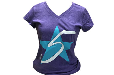 Heathered Purple Juniors 5 Star V-Neck Tee