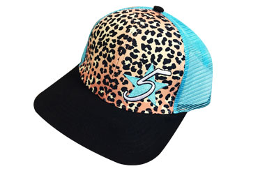 5 Star Leopard Print Meshback - Turquoise