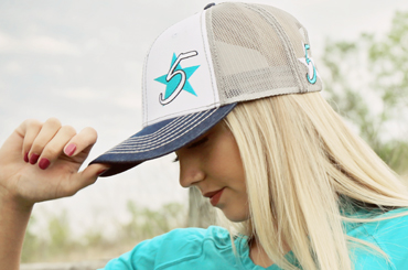 Tri-Tone 5 Star Cap - White, Denim, and  Gray with turquoise logo!