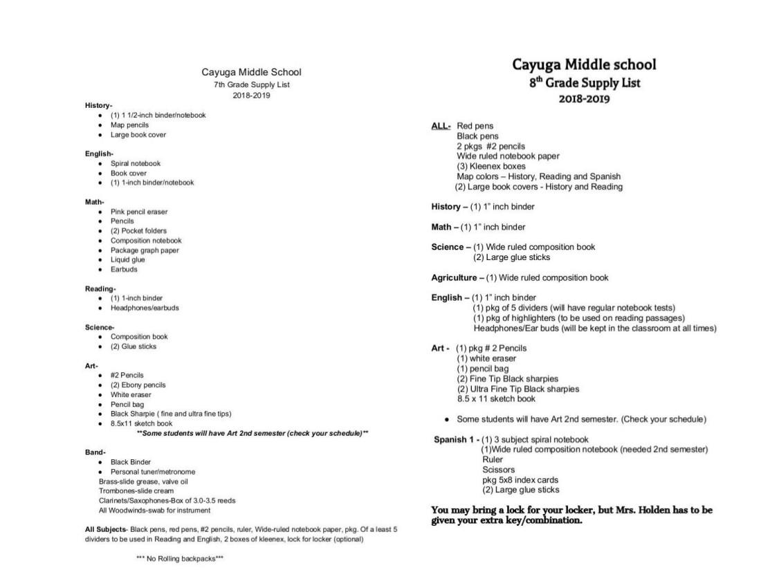 School Supply Lists 2018-2019 | 98 3 KYYK