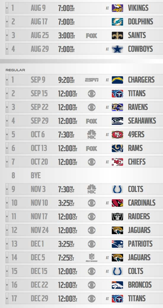 2013 Houston Texans Schedule