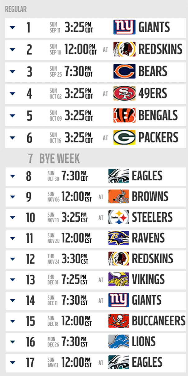 Dallas Cowboys - Schedule 2016