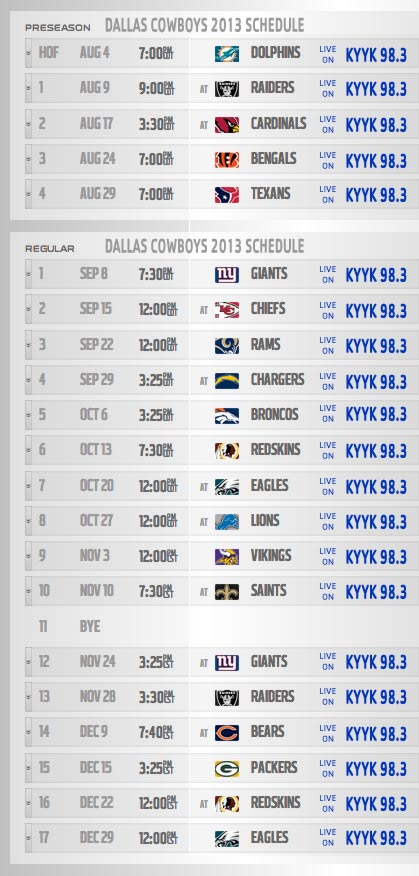 Dallas Cowboys 2013 Broadcast Schedule
