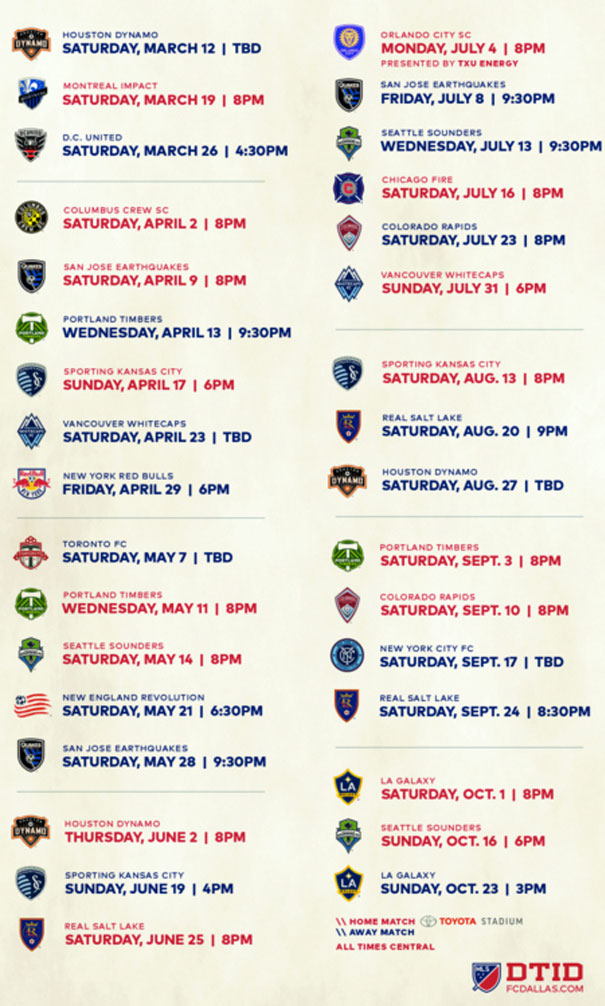 FC Dallas - Schedule 2016