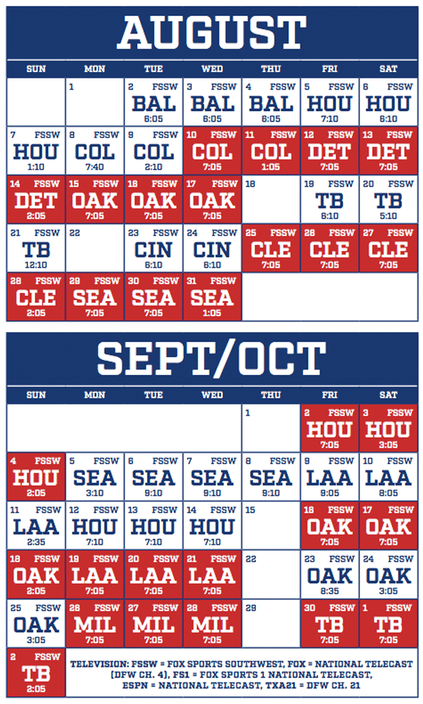 Texas Rangers - Schedule 2016