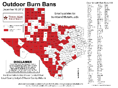 Business Ideas 2013 Texas Burn Ban Map