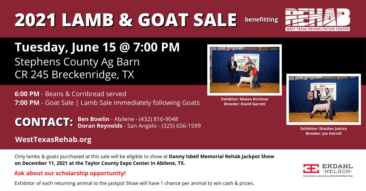 2021 Lamb & Goat Sale benefiting West Texas Rehab