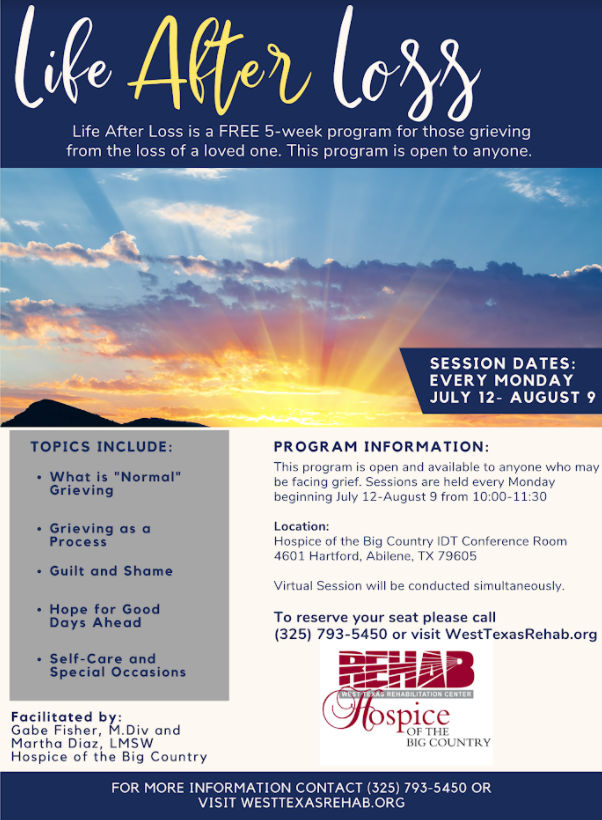 Life After Loss 5-Week Program (July 12- August 9, 2021)