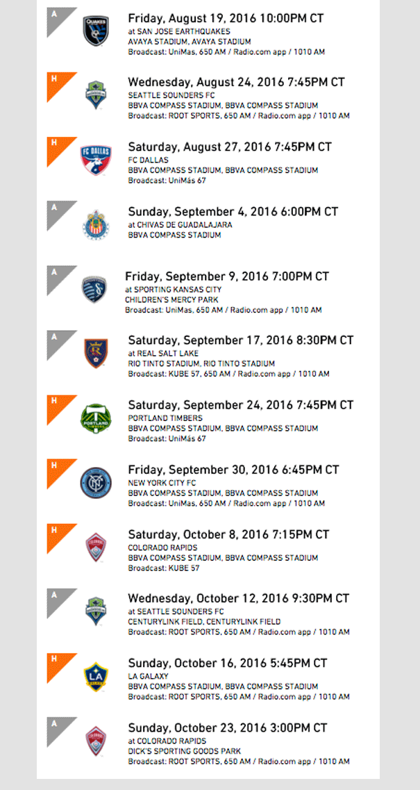 Houston Dynamo - Schedule 2016