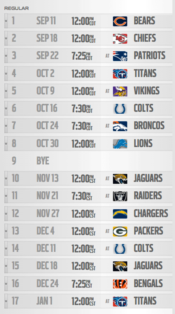 Houston Texans - Schedule 2016
